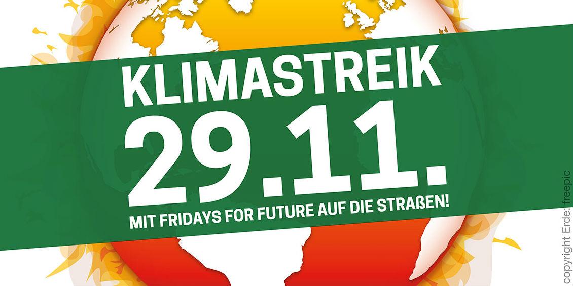 Plakat zum Klimastreik am 29.11.