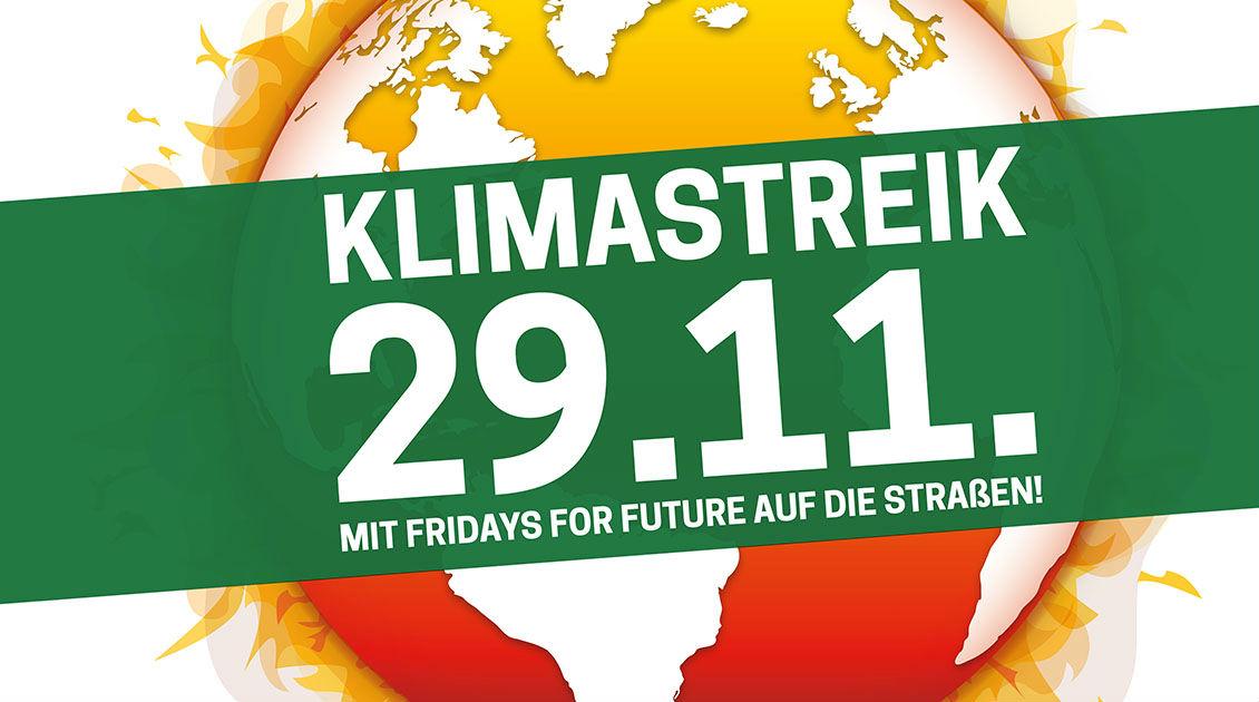 Plakat zum globalen Klimastreik am 29.11.2019